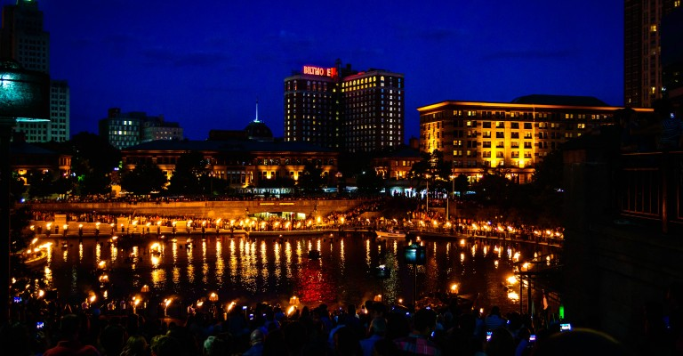 The Providence Skyline during WaterFire Providence. Photo by Jennifer Bedford.